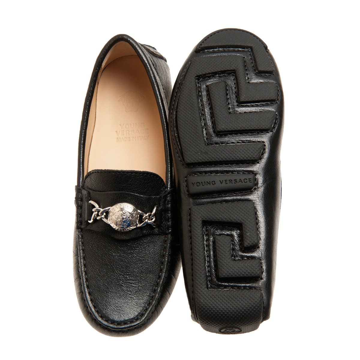 44b5baf42 Boys black leather loafers by Young Versace