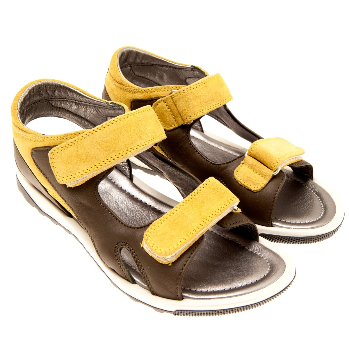 43423e66f8fa9 Mustard   Olive color Leather sued Boys Sandals. From Young Versace