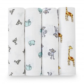 Aden+Anais - Classic 4 Pack Swaddles Jungle Jam