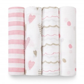 Aden+Anais -  Classic 4-Pack Swaddles Heartbreaker