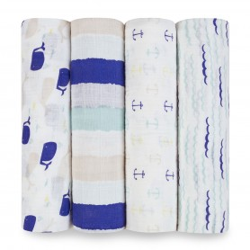 Aden+Anais - Classic 4-Pack Swaddles Highseas