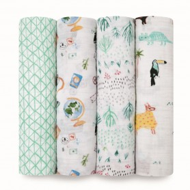 Aden+Anais -  Classic 4-Pack Swaddles Around the World