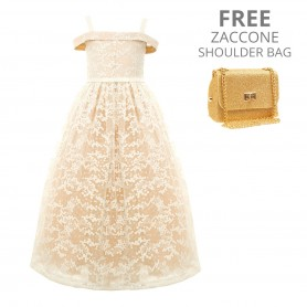 Baby Doll -  Embroidered Sequins Netting Long Dress