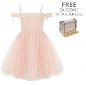 Baby Doll - Peach Lace short dress With Lace Trimmings