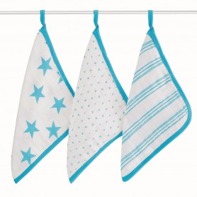 Aden+Anais - Washcloth Set-Fluro Blue