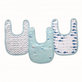 Aden+Anais - 3-Pack Classic Snap Bibs MAKING WAVES