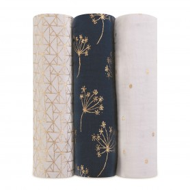 Aden+Anais - Classic Metallic 3 Pack Swaddles Gold Deco