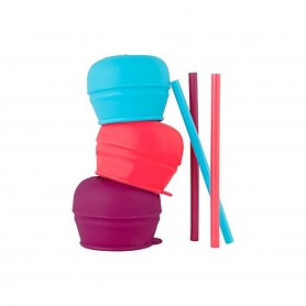 Boon - Snug Straw 3pack Lids-Girl