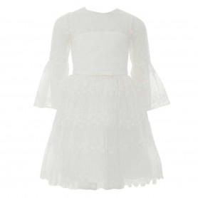 Baby Doll - Bell sleeves Embroidered netting Short dress