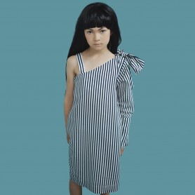 Blue Stripes Dress With Shoulder Bow