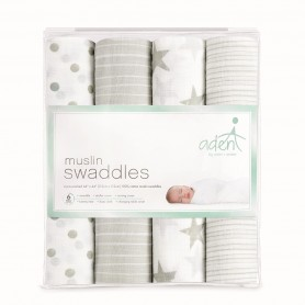 Aden+Anais - 4-Pack Classic Muslin Swaddles DUSTY