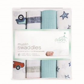 Aden+Anais - 4-Pack Classic Muslin Swaddles HIT THE ROAD