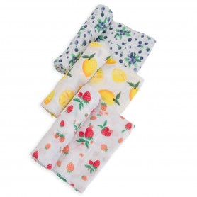 LITTLE UNICORN -  Cotton Muslin Swaddle Set Berry Lemonade