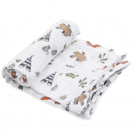LITTLE UNICORN - Cotton Muslin Swaddle Forest Friends