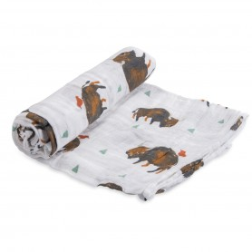 LITTLE UNICORN - Cotton Muslin Swaddle Bison