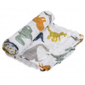 LITTLE UNICORN - Cotton Muslin Swaddle Dino Friends