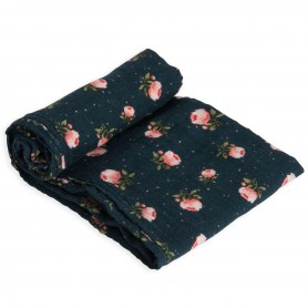 LITTLE UNICORN - Cotton Muslin Swaddle Midnight Rose