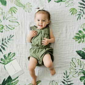 LITTLE UNICORN - Photo Blanket Tropical Leaf