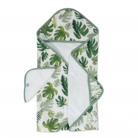 LITTLE UNICORN - Hooded Towel & Washcloth Set Tropical Leaf
