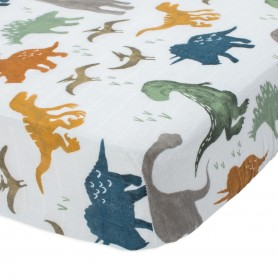 LITTLE UNICORN - Cotton Muslin Crib Sheet Dino Friends