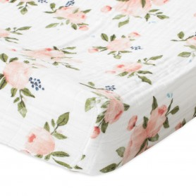 LITTLE UNICORN - Cotton Muslin Changing Pad Cover Watercolor Roses